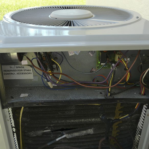 HVAC system getting serviced