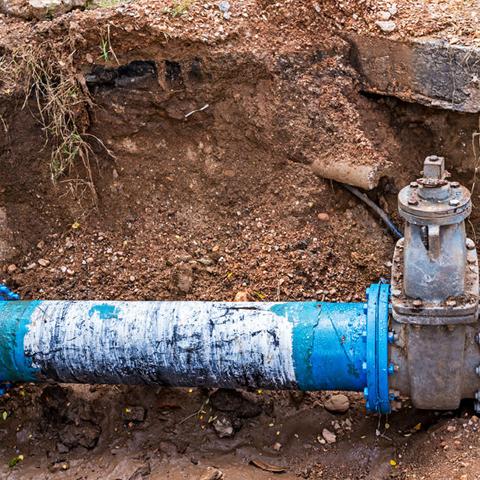Water line dug up for repair