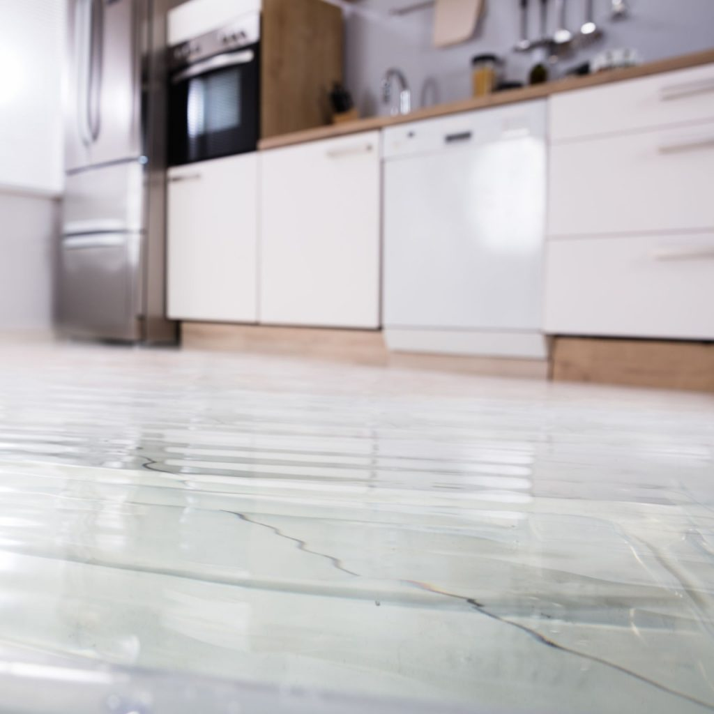 flooded floor in kitchen from a leak